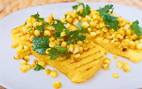 Grilled Polenta with Triple-Pepper Sauce