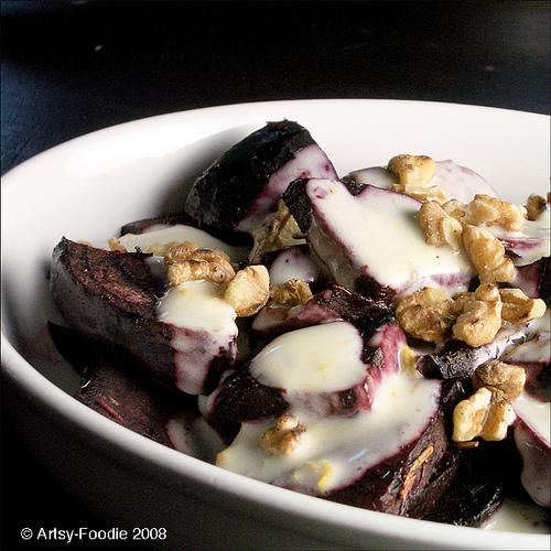 Roasted Beets with Gorgonzola/Walnut Dressing and Arugula