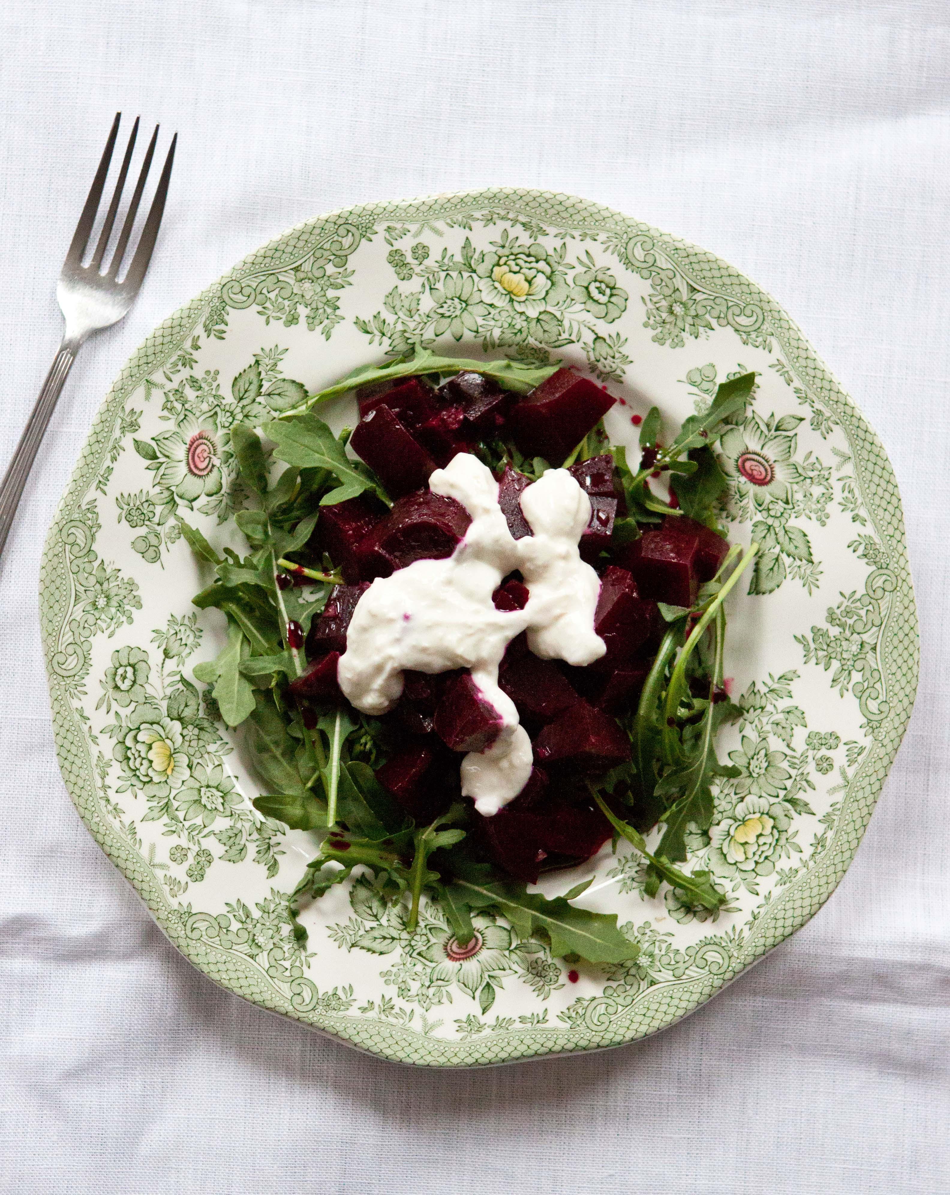 Roasted Beets and Arugula with Gorgonzola/Walnut Dressing